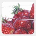 Cuenco de fresas calcomania cuadradas personalizadas