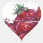Cuenco de fresas pegatina corazón personalizadas
