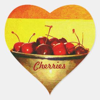 Cuenco de la cereza calcomania corazon personalizadas