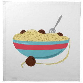 Cuenco de los espaguetis servilletas
