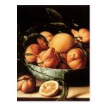 Cuenco de Louise Moillon de los naranjas de Curaça Tarjeta Postal