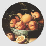 Cuenco de Louise Moillon de los naranjas de Pegatina Redonda