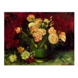 Cuenco de Peonies y subió, Vincent van Gogh Postal