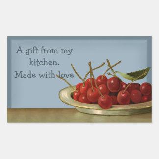 Cuenco de regalo de las cerezas de la plantilla de pegatina rectangular