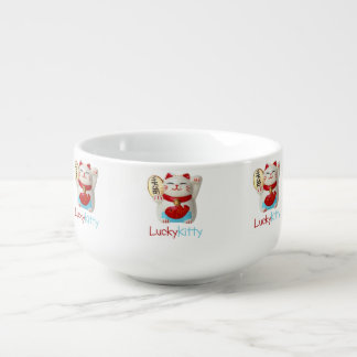 Cuenco de sopa afortunado del gatito tazón para sopa
