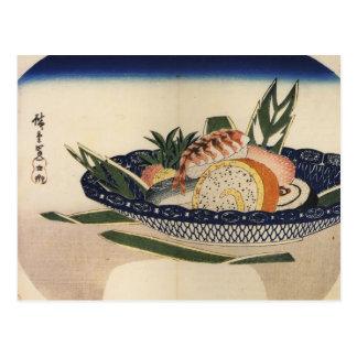 Cuenco de sushi, circa 1800's Japón Tarjeta Postal