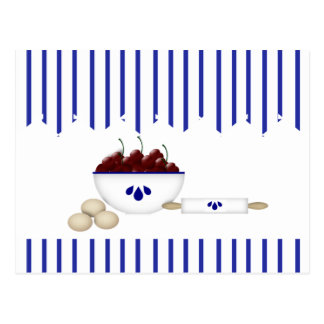 Cuenco de tarjeta de la receta de las cerezas postales