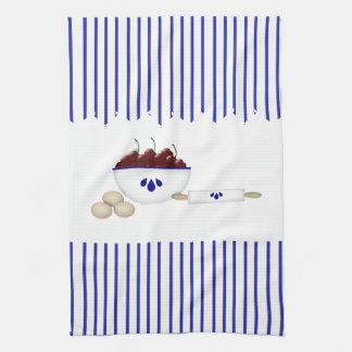 Cuenco de toalla de cocina de las cerezas