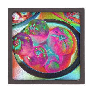Cuenco de tomates del filete en hoja coloreada caja de recuerdo de calidad