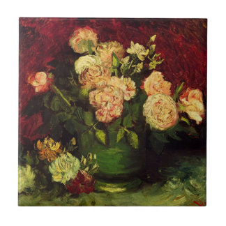 Cuenco de Van Gogh con los Peonies y los rosas, Azulejo Cuadrado Pequeño