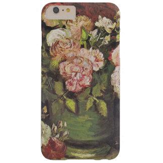Cuenco de Van Gogh con los Peonies y los rosas Funda Para iPhone 6 Plus Barely There