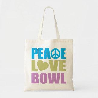 Cuenco del amor de la paz bolsa de mano
