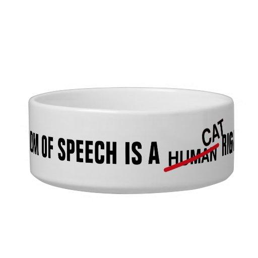 Cuenco del gato de la libertad de expresión tazón para agua para gatos