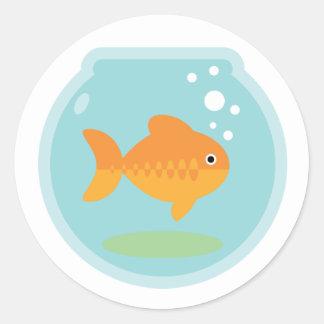 Cuenco del Goldfish Etiquetas Redondas