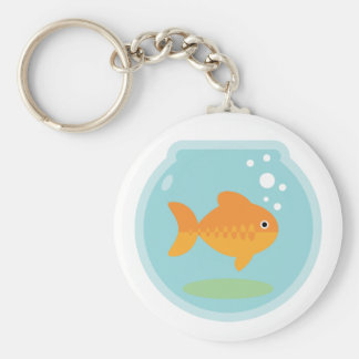 Cuenco del Goldfish Llavero Redondo Tipo Pin