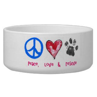 Cuenco del mascota de la paz, del amor y del resca tazón para perro