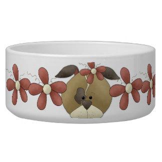 Cuenco del perrito y del perro de los ramilletes tazon para perro