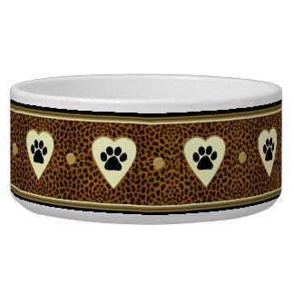 Cuenco del perro de las patas y de los corazones d boles para gatos