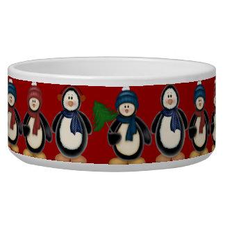 Cuenco del perro de los pingüinos del navidad tazón para perro