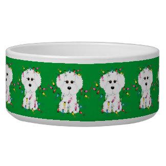 Cuenco del perro del navidad de Bichon Frise Tazones Para Perrros