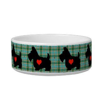 Cuenco del perro del tartán del corazón del escocé tazón para agua para gatos