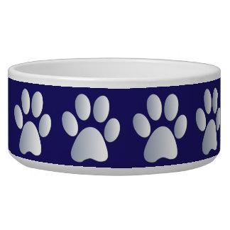 Cuenco hermoso del perro casero de los pawprints a comedero para mascota