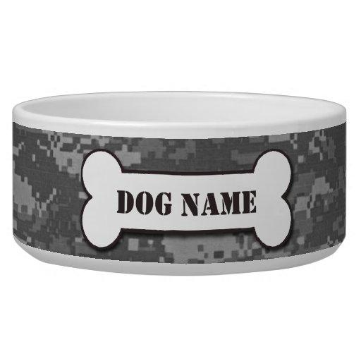 Cuenco militar personalizado del perro del camufla tazones para perrros