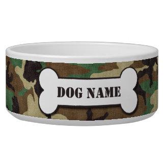Cuenco militar personalizado del perro del camufla tazones para perro