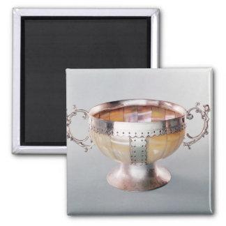 Cuenco nacarado montado plata del wassail imán de frigorífico