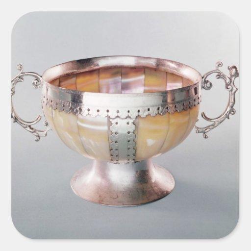 Cuenco nacarado montado plata del wassail pegatina cuadrada
