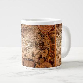 Cuenco para sopa antiguo del jumbo del mapa de taza grande