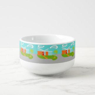 Cuenco para sopa moderno de la casa del dibujo