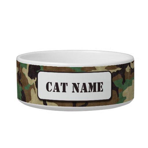 Cuenco personalizado del gato del camuflaje del comedero para mascota