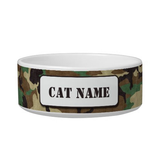 Cuenco personalizado del gato del camuflaje del tazón para gato