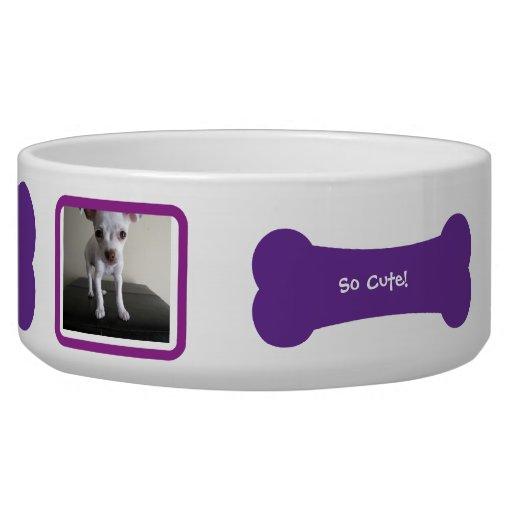 Cuenco personalizado foto púrpura del mascota del  tazón para perro