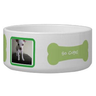 Cuenco personalizado foto verde del mascota del hu comedero para mascota