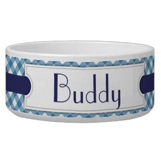 Cuenco personalizado tela escocesa diagonal azul d comedero para mascota