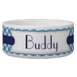Cuenco personalizado tela escocesa diagonal azul d bol para perro