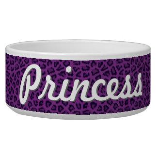 Cuenco púrpura del mascota del estampado leopardo  boles para gatos
