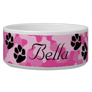 Cuenco rosado del perro del camuflaje tazón para perro