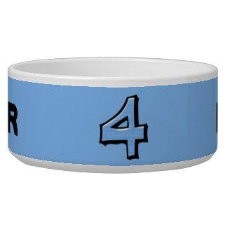 Cuenco tonto del azul del número 4 comedero para mascota