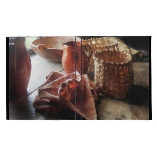 'Cuenco y cestas de las jarras de la arcilla