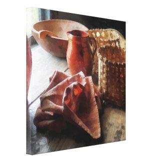 Cuenco y cestas de las jarras de la arcilla impresiones de lienzo