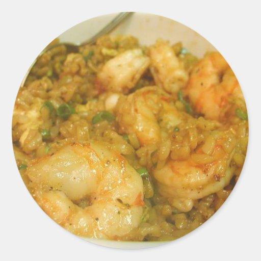 Cuencos del camarón del arroz frito de la gamba pegatina redonda