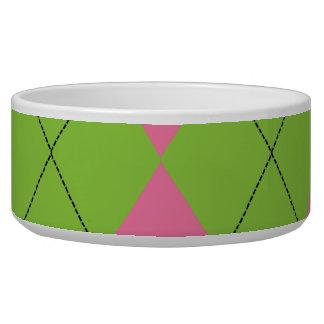Cuencos rosados y verdes del mascota de Argyle Boles Para Gatos