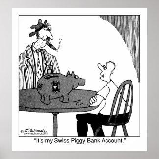 Cuenta bancaria de hucha suiza impresiones