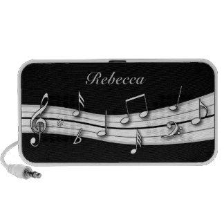 Cuenta blanco y negro gris de las notas musicales altavoces