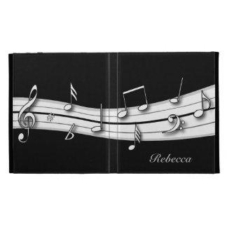 Cuenta blanco y negro gris de las notas musicales