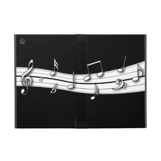 Cuenta blanco y negro gris de las notas musicales iPad mini fundas
