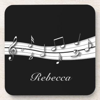Cuenta blanco y negro gris de las notas musicales posavasos de bebidas